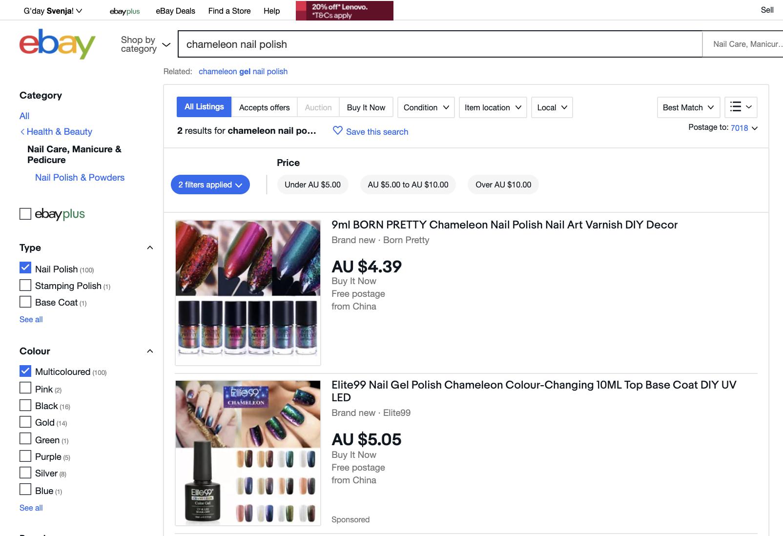 Screenshot E-Bay Search