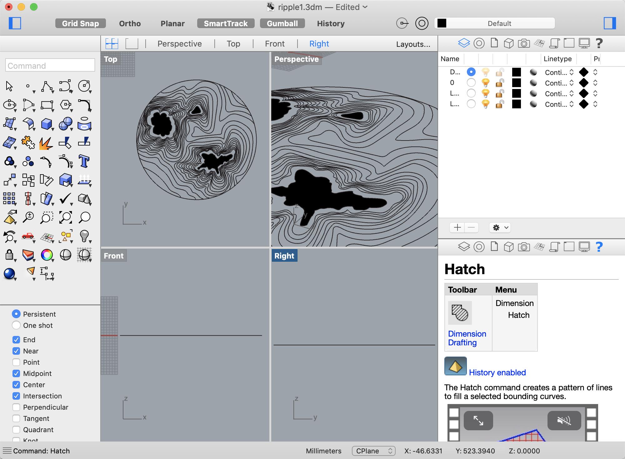 Screenshot of design in Rhino